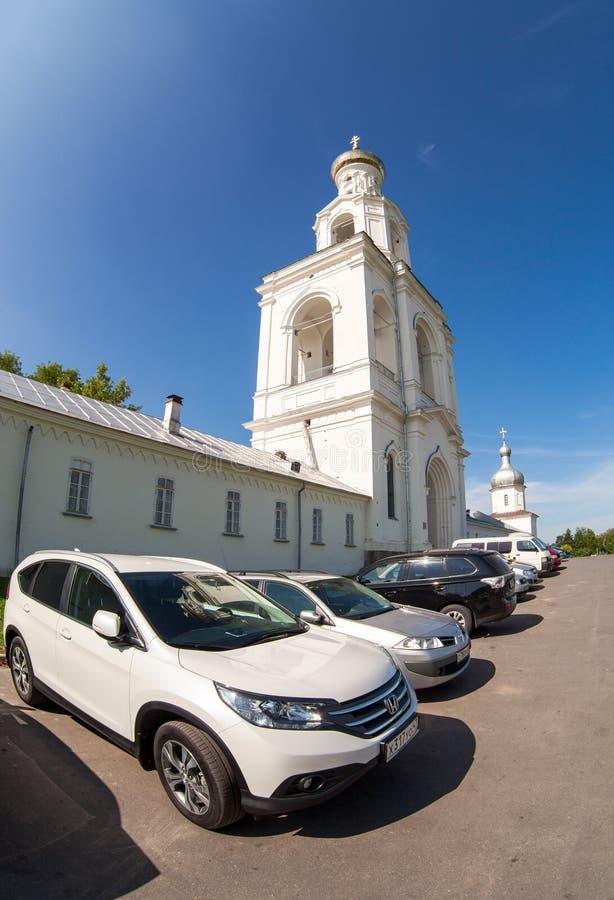 St George (Yuriev) klooster in Veliky Novgorod, Rusland royalty-vrije stock foto