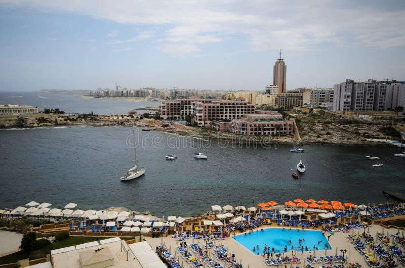 St. George zatoka, St. Julians, Malta obrazy royalty free