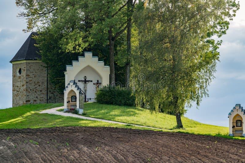 ST GEORGEN, BOVEN-OOSTENRIJK /AUSTRIA - 15 SEPTEMBER: Calvary Chur royalty-vrije stock fotografie