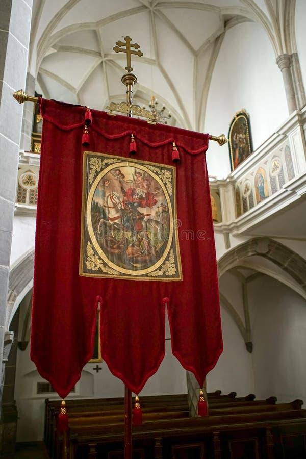 ST GEORGEN UPPER AUSTRIA /AUSTRIA - SEPTEMBER 18: Rött baner I royaltyfria bilder