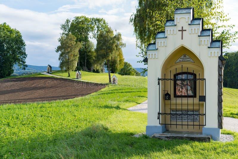 ST GEORGEN, wierzch AUSTRIA/AUSTRIA - WRZESIEŃ 15: Kalwaryjski Chur obrazy stock