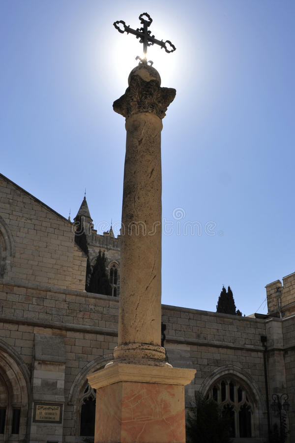 St. Georges cathedral in Jerusalem. Pillar in St. Georges cathedral patio in East Jerusalem stock image