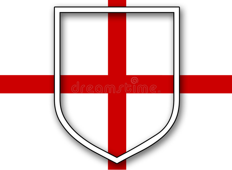 St Georges Flag met Schild vector illustratie
