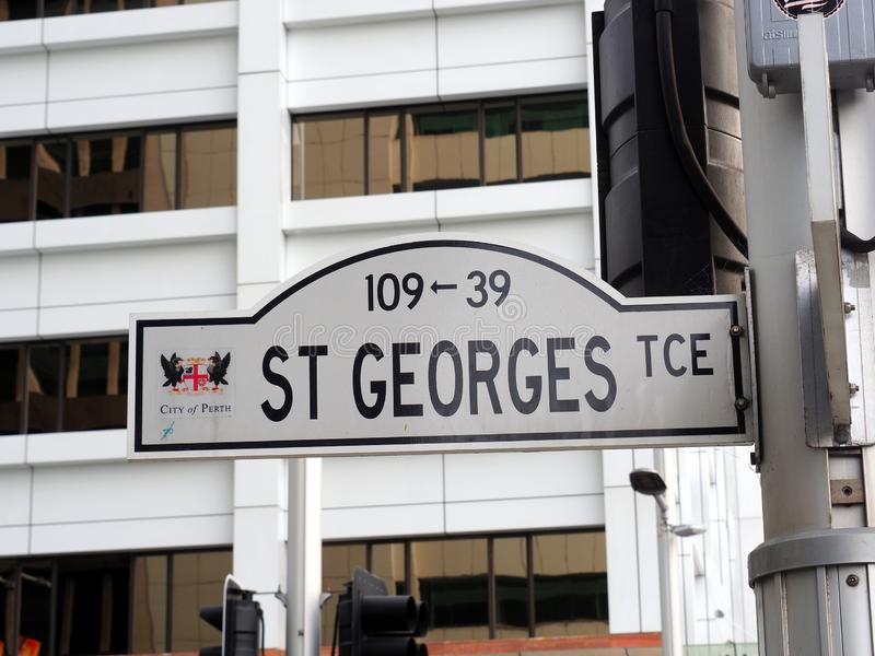 St Georges Terrace Strert Sign, Perth, Austrália Ocidental imagens de stock royalty free