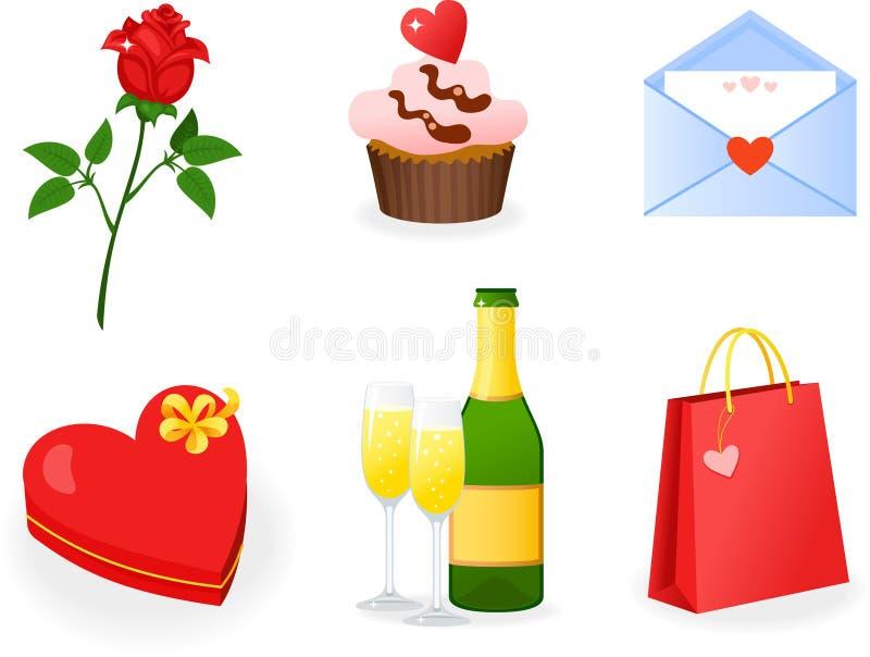 St. geplaatste de pictogrammen van de Dag van de valentijnskaart \ 's stock illustratie