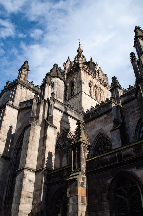 St Giles Cathedral, mening van de Koninklijke Mijl, Edinburgh, Schotland het UK royalty-vrije stock fotografie