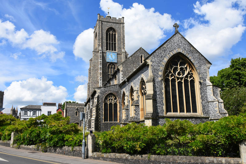 St Giles Church, Norwich City centrerar, Norfolk, England royaltyfri foto
