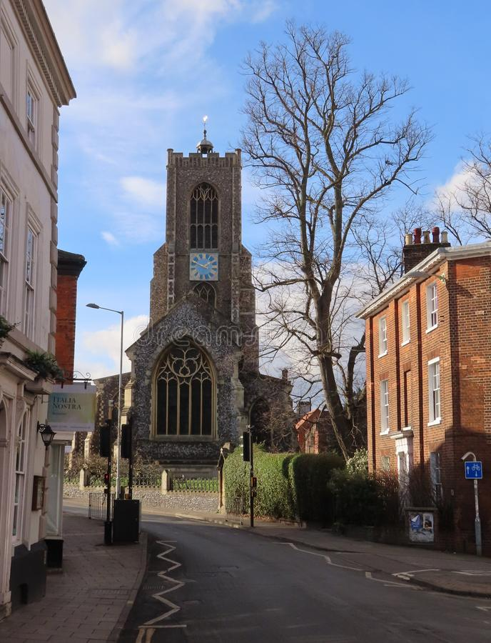 St Giles` Church. Norwich is a Grade I listed parish church in the Church of England in Norwich royalty free stock image
