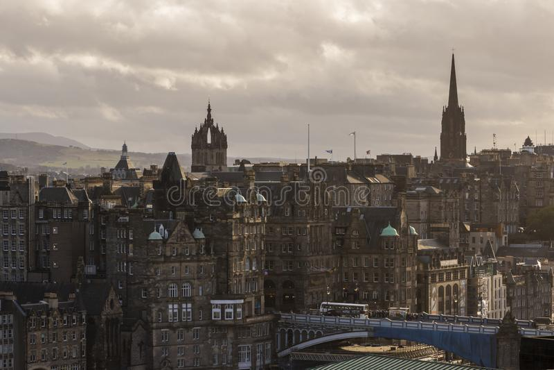 St Giles katedra i centrum, Edynburg linia horyzontu, Szkocja obrazy stock