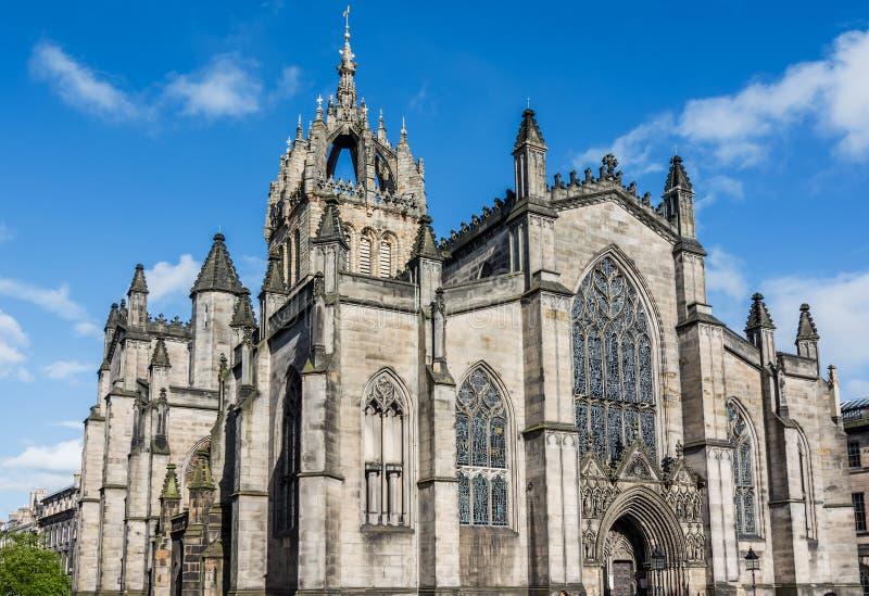 St Giles Kathedraal bij zonsondergang, Edinburgh, Schotland royalty-vrije stock fotografie