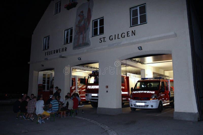St Gilgen,奥地利:圣Gilgen镇的消防队  免版税库存图片