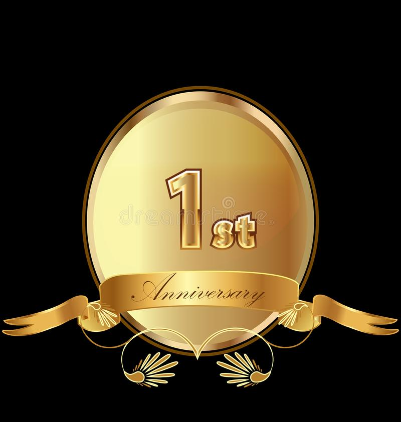 1st golden anniversary birthday seal icon vector royalty free illustration