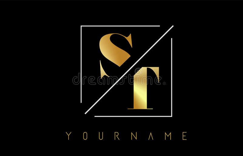 ST Golden Letter Logo with Cutted and Intersected Design. And Square Frame Vector Illustration royalty free illustration