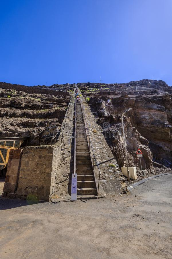 Tourists on Jacobs Ladder St Helena. ST HELENA ISLAND, SOUTH ATLANTIC - APRIL 2 2018: Group of tourists climbing down the 699 steep steps of Jacobs Ladder in royalty free stock images