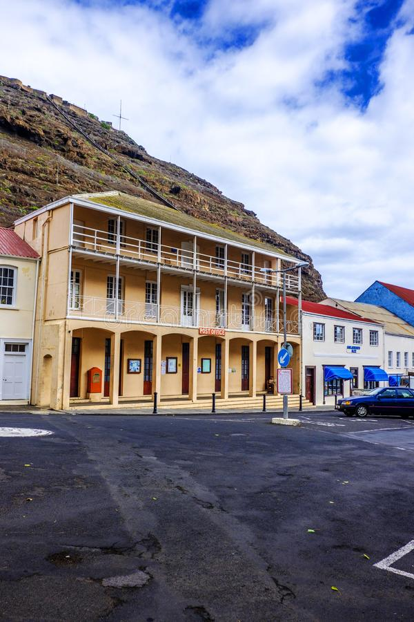 St Helena Post Office. ST HELENA ISLAND, SOUTH ATLANTIC - APRIL 2 2018: Large Post Office building on picturesque Main Street of Jamestown with Jacons Ladder in royalty free stock images