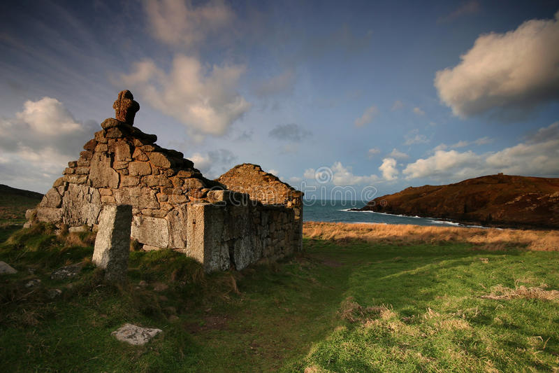 St Helens oratory Cape Cornwall. The ancient small place of worship on Cape Cornwall is called St Helens Oratory it is an early example of Christian worship stock photos