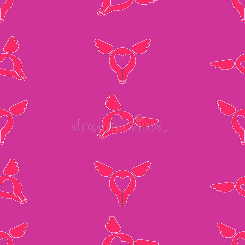 St het naadloze patroon van de Valentijnskaartendag Liefde, Romaanse vlakke pictogrammen - harten, vleugels vector illustratie