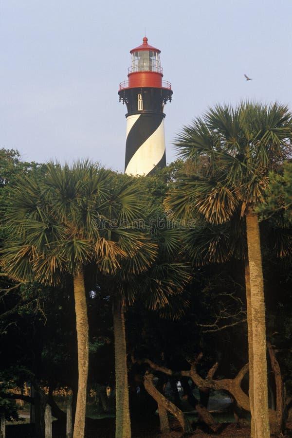 St histórico Augustine Lighthouse en St Augustine, FL imagenes de archivo