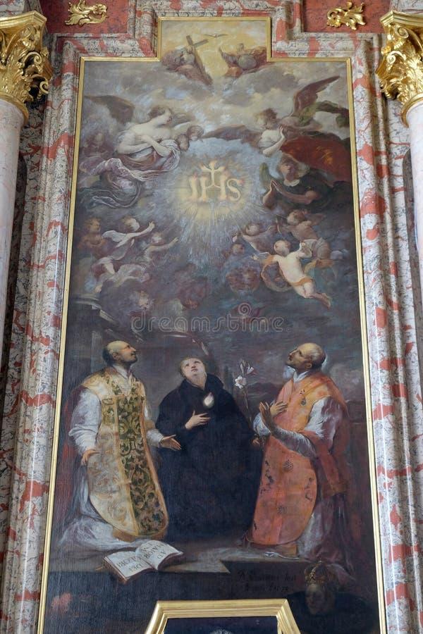 ST Ignatius της Loyola, ST Stanislaus και ST Francis Borgia, εκκλησία Jesuit του ST Francis Xavier σε Λουκέρνη στοκ εικόνα με δικαίωμα ελεύθερης χρήσης