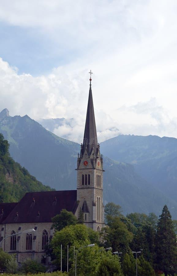 St. Igreja de paróquia do florim em Vaduz fotos de stock