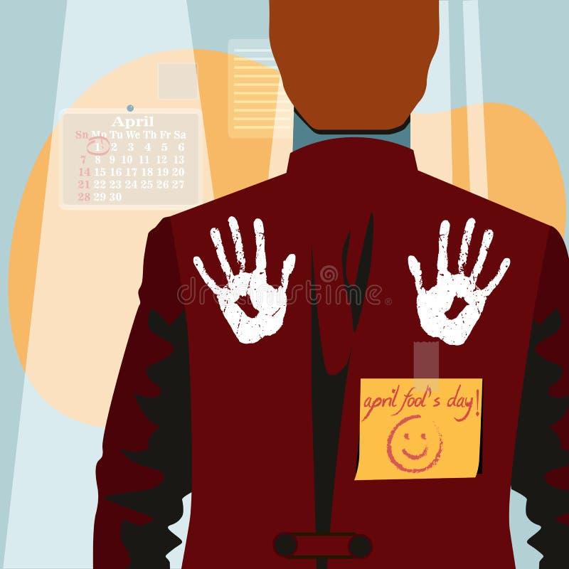 1st illustration för dag för April dumbom med handavtrycken på baksida stock illustrationer