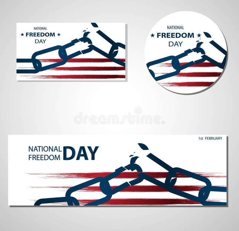 1st illustration för Februari nationell frihetsdag med den brutna kedjebaner- eller affischmallen vektor illustrationer