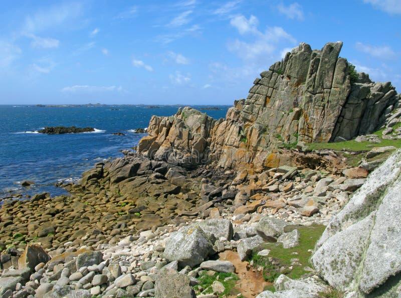 St. Inés y rocas occidentales, islas de Scilly. imagen de archivo libre de regalías