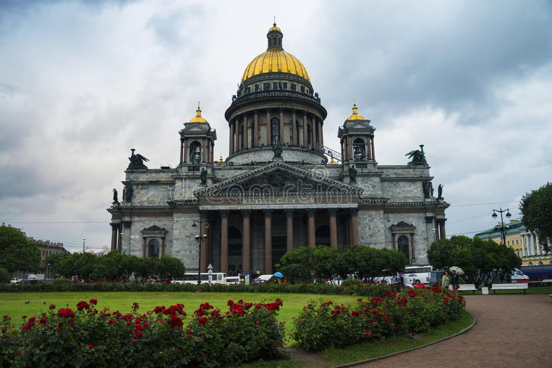 St Isaac Cathedral at cloudy weather, Saint. Petersburg, Russia. It is a largest orthodox basilica in the world - a popular landmark royalty free stock photos