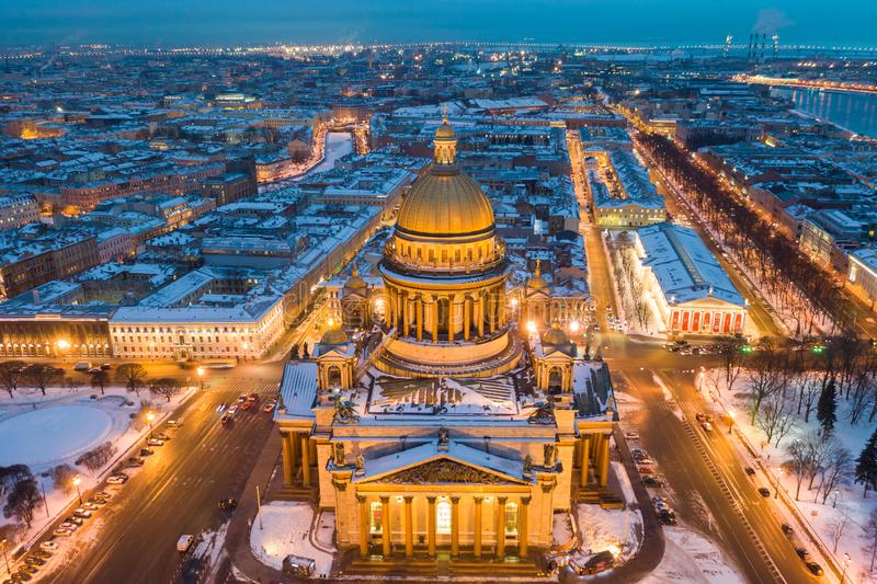 St Isaac cathedral in Saint Petersburg, Russia, is the biggest christian orthodox church in the world stock photography