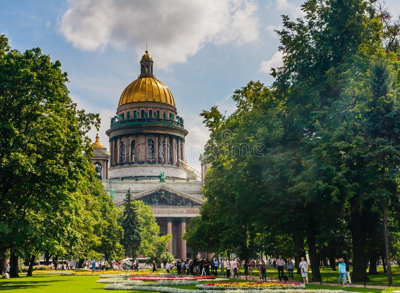 View of St Isaac cathedral in Saint Petersburg, Russia, is the biggest christian orthodox church in the world stock photo