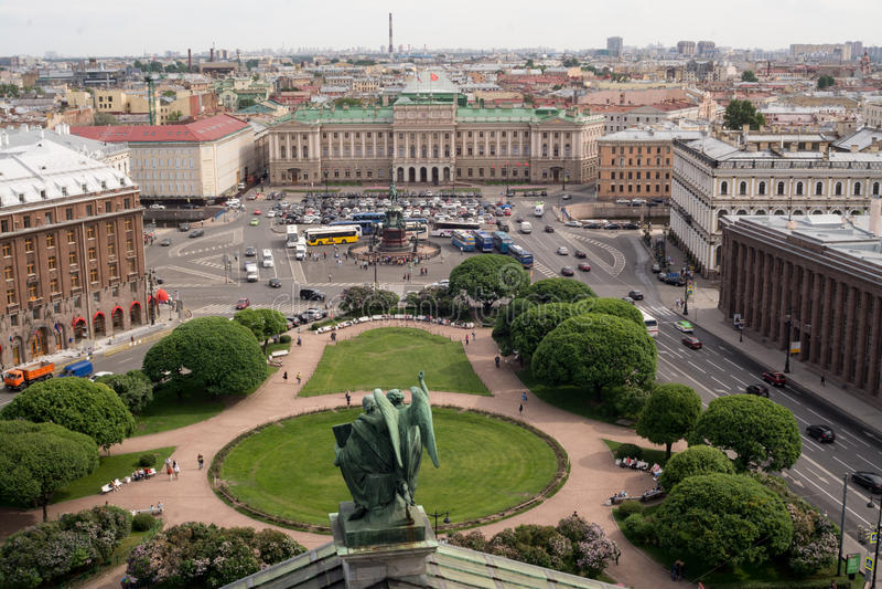 St Isaac' s正方形,圣彼得堡,俄罗斯 免版税库存图片