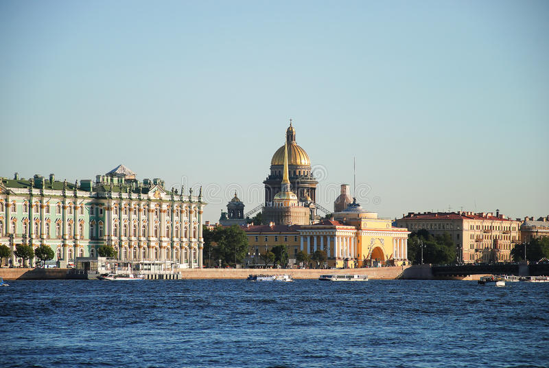 St. Isaac`s Cathedral, the Admiralty and the Hermitage or the Winter Palace royalty free stock photo