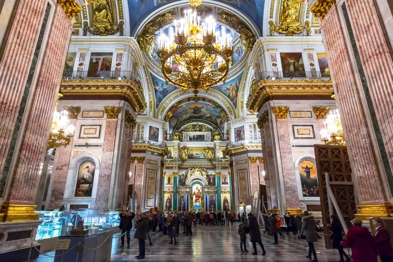 St. Isaac`s Cathedral interiors, Saint Petersburg, Russia stock photo