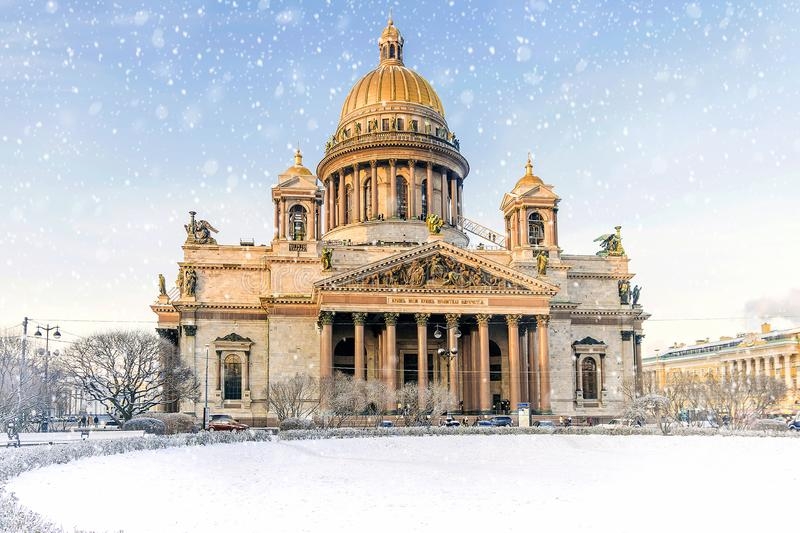 St. Isaac`s Cathedral with St. Petersburg.  royalty free stock photography