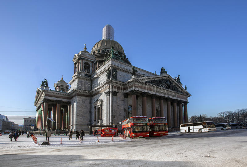 St. Isaac`s Cathedral in Saint-Petersburg royalty free stock photo