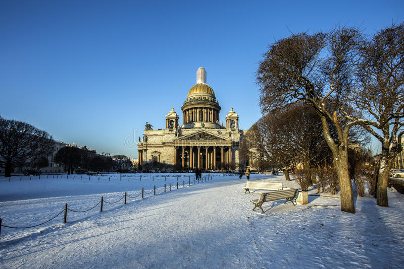 St. Isaac`s Cathedral in Saint-Petersburg stock photography