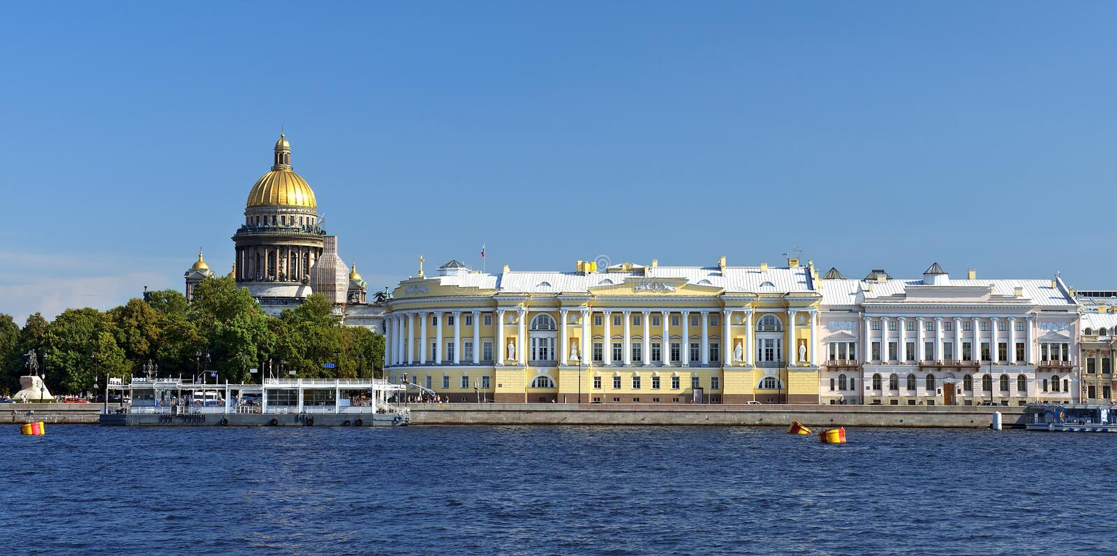 St. Isaac's Cathedral and the Senate and Synod building, St. Petersburg. View from the Neva River at the St. Isaac's Cathedral and the Senate and Synod building royalty free stock image