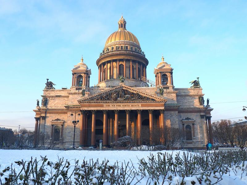 St. Isaac`s Cathedral from the square stock photos