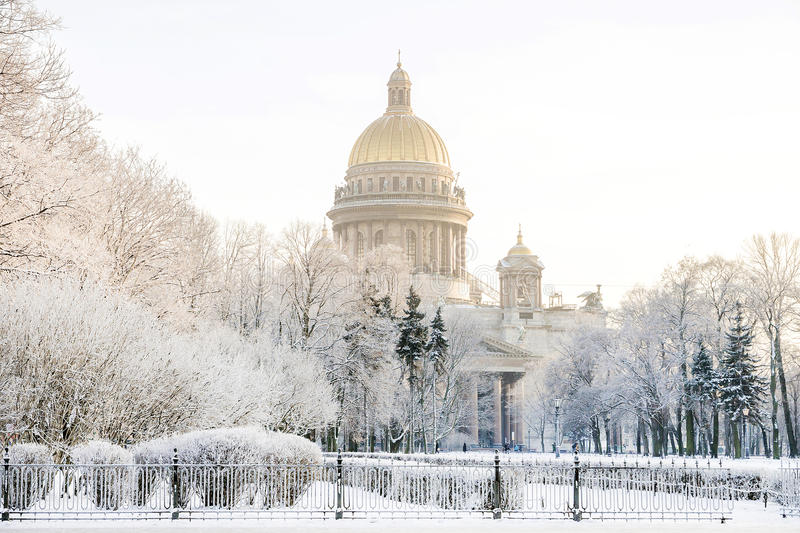 St. Isaac`s Cathedral in St. Petersburg winter frosty morning.  royalty free stock photo