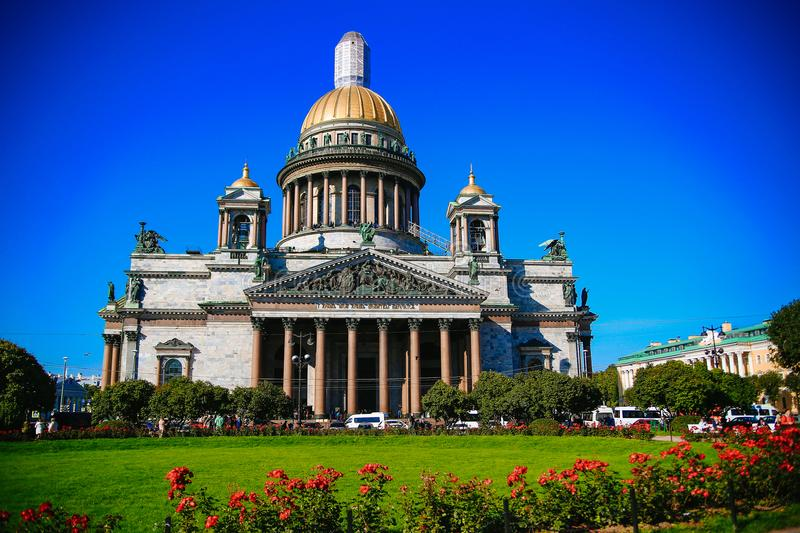 St. Isaac`s Cathedral view summer stock photos