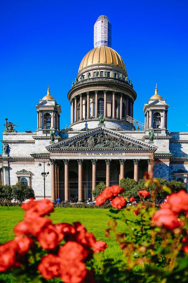 St. Isaac`s Cathedral view summer. St. Isaac`s Cathedral in summer in Sunny weather, St. Petersburg, Russia, 2017 stock images