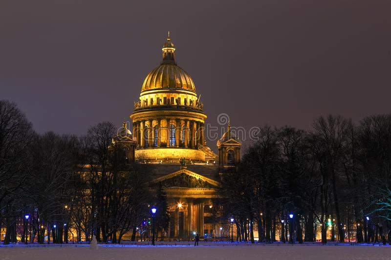 St. Isaak`s Cathedral, St. Petersburg in early morning in winter stock photo
