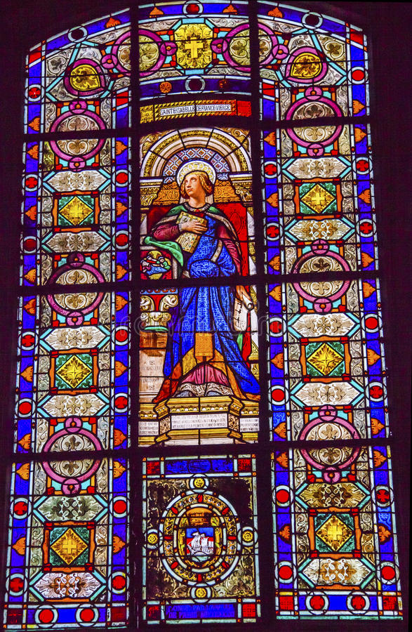 St Isabelle Stained Glass Saint Louis En L'ile Church Paris France. Saint Isabelle Stained Glass Basilica Saint Louis En L'ile Church Paris France. Saint Louis stock images