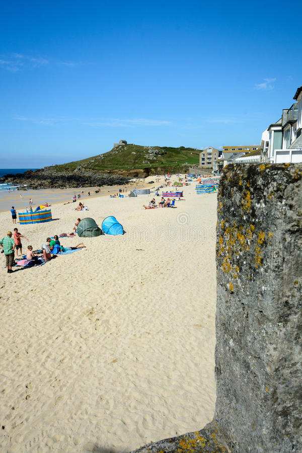 St Ives Beach portretwijze stock foto