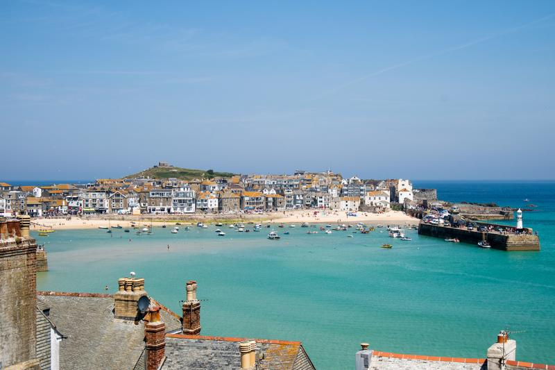 St Ives English Seaside Harbour images stock