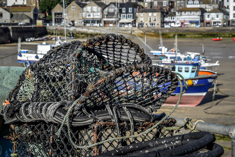St Ives Harbour Fishing Cage stock foto's