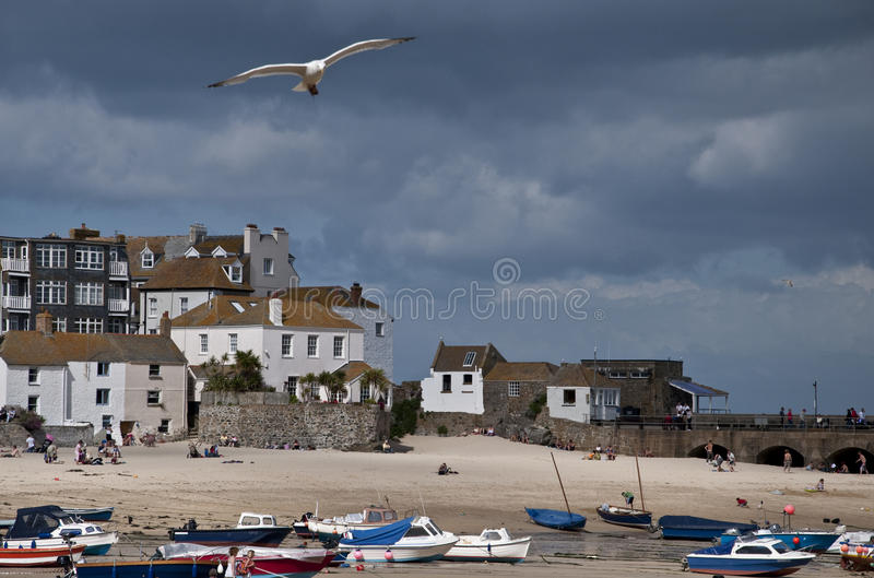 St Ives harbour at low Tide stock image