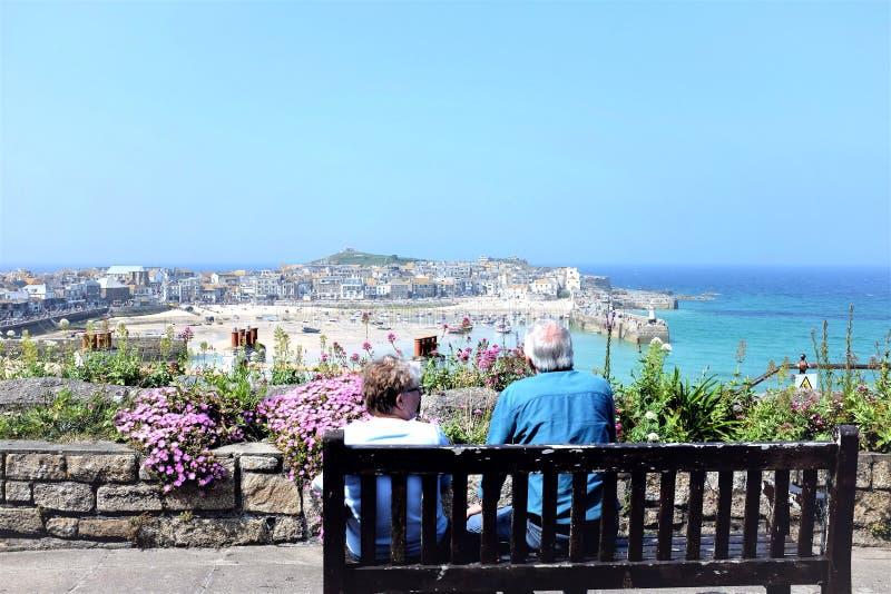 St Ives panorama, Cornwall, het UK royalty-vrije stock fotografie