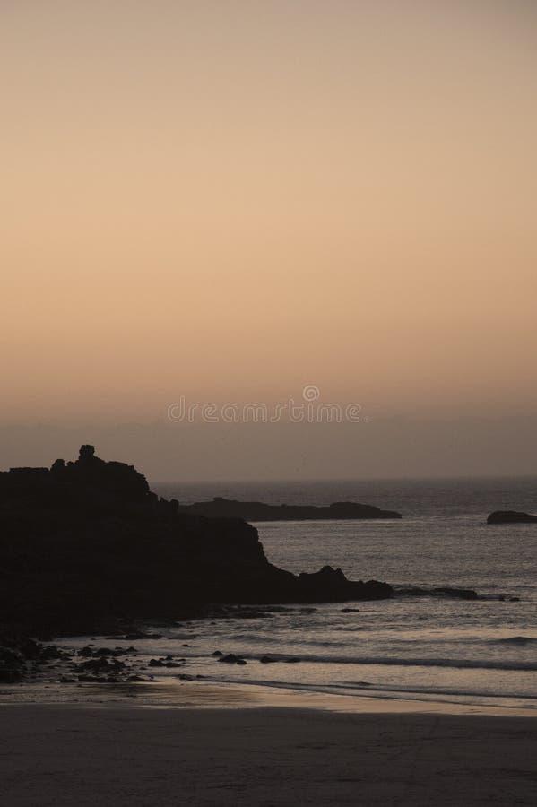 St Ives porthmeorstrand bij zonsondergang royalty-vrije stock foto
