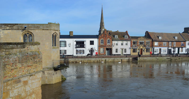 St Ives Quay and Historic bridge with it's Chapel. stock photo